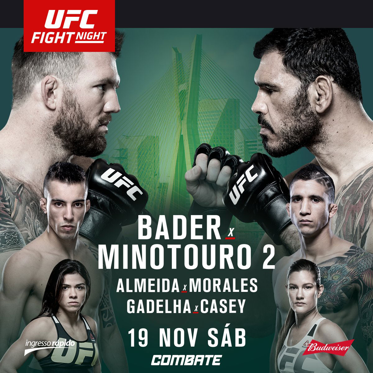Poster/affiche UFC Fight Night 100 - Sao Paulo