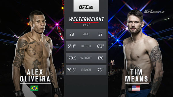 Alex Oliveira contre Tim Means
